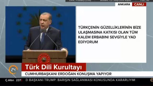 Cumhurbaşkanı Erdoğan: Dilimizin tek ihtiyacı onun değerini bilen insanlar ve kurumlardır