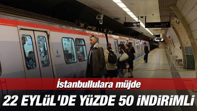 İstanbul Büyükşehir Belediyesi (İBB), Avrupa Hareketlilik Haftası dolayısıyla kent genelinde toplu ulaşım araçlarının 22 Eylül'de yüzde 50 indirimli hizmet vermesi kararı verdi.