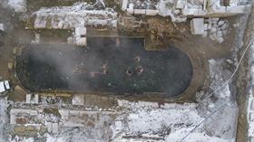 Yozgat'taki iki bin yıllık tarihi Roma havuzunda kar altında yüzüyorlar