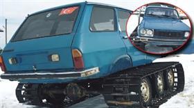 42 yıllık otomobili paletli kar aracına dönüştürdüler