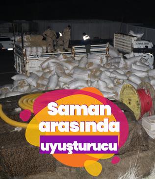 Saman yüklü kamyonda kilo kilo esrar ele geçirildi