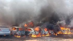 Hindistan Hava Fuarı'nda yangın çıktı