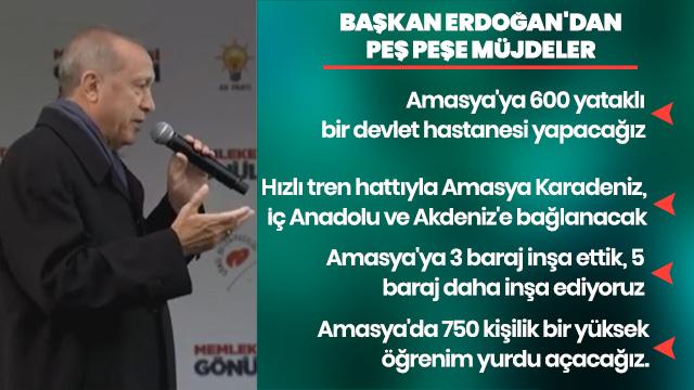Başkan Erdoğan'dan Amasyalılara müjde üstüne müjde