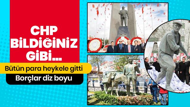 CHP'li Altınok Öz, belediyenin paralarını heykele yatırdı