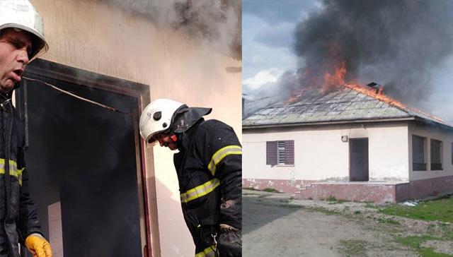 Eşine kızıp evi ateşe verdi
