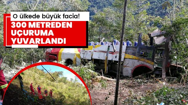 Yolcu otobüsü 300 metreden uçuruma yuvarlandı