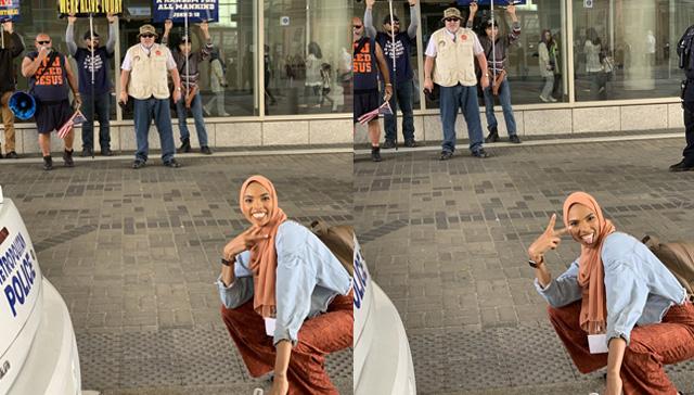 İslam karşıtı göstericiler önünde verdiği pozlarla fenomen oldu